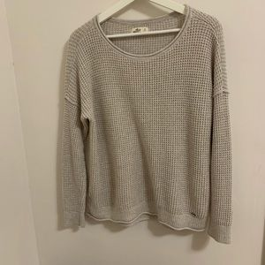 hollister waffle knit sweater tan cream beige